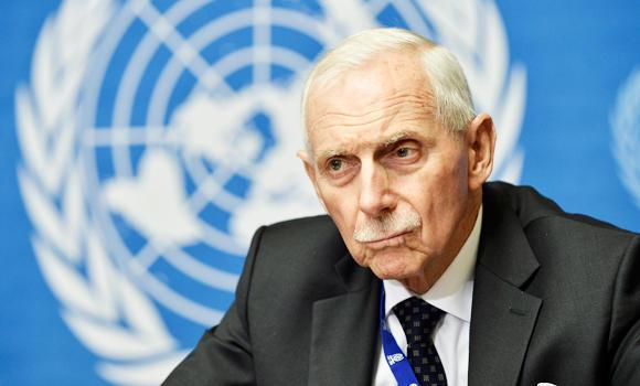 William Lacy Swing, Director-General of the International Organization for Migration (IOM) attends a news conference